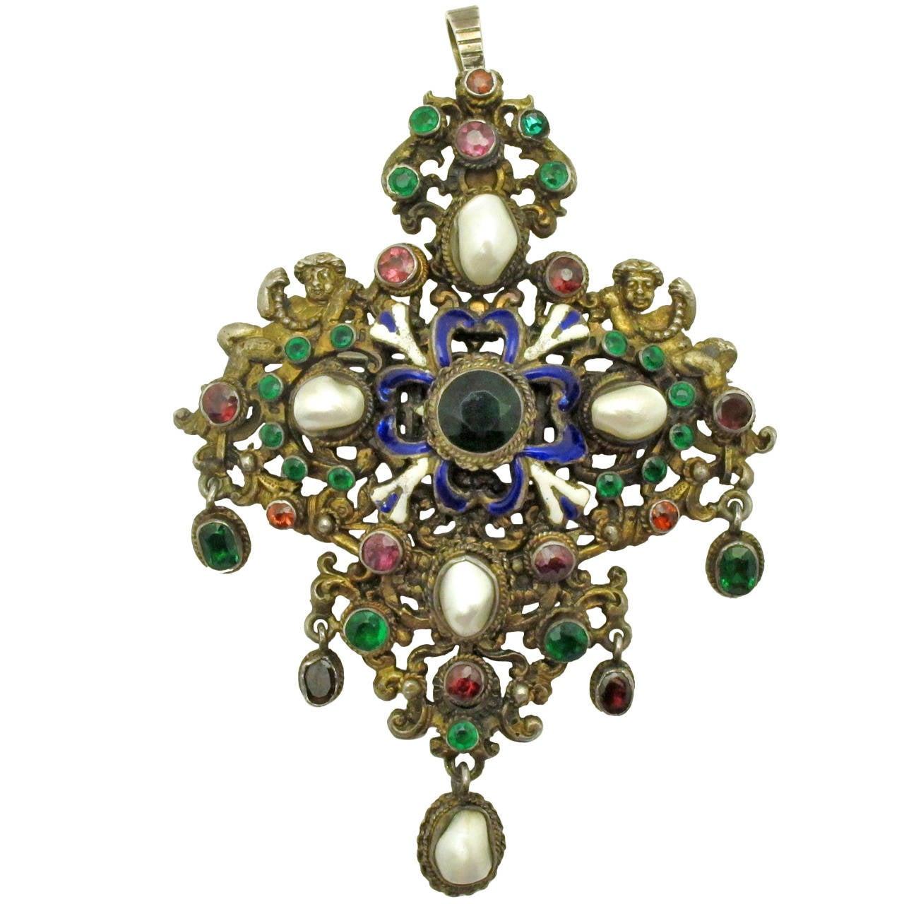 19th century austro hungarian enamel multi gem silver