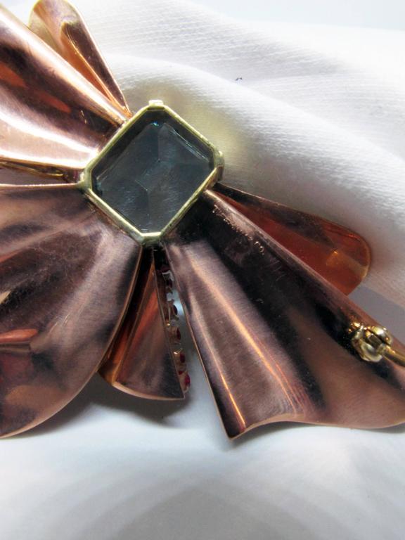 Tiffany and Co. Retro Aquamarine Ruby Diamond Gold Bow ...