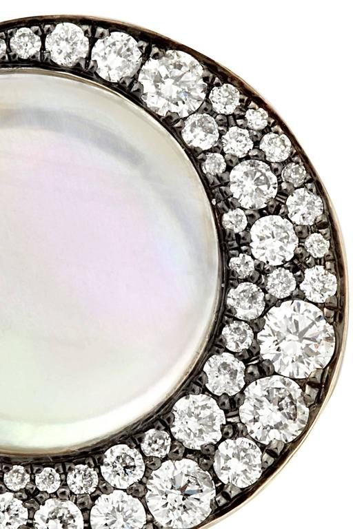 "Modern Tilsam Blue Moonstone Diamond Gold ""Eclipse"" Ring For Sale"
