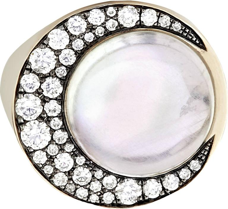 """Tilsam Blue Moonstone Diamond Gold """"Eclipse"""" Ring In As new Condition For Sale In London, GB"""