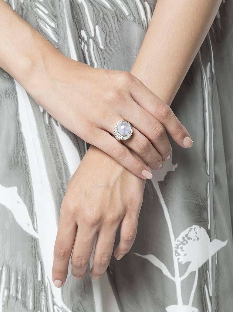 "Tilsam Blue Moonstone Diamond Gold ""Eclipse"" Ring For Sale 2"
