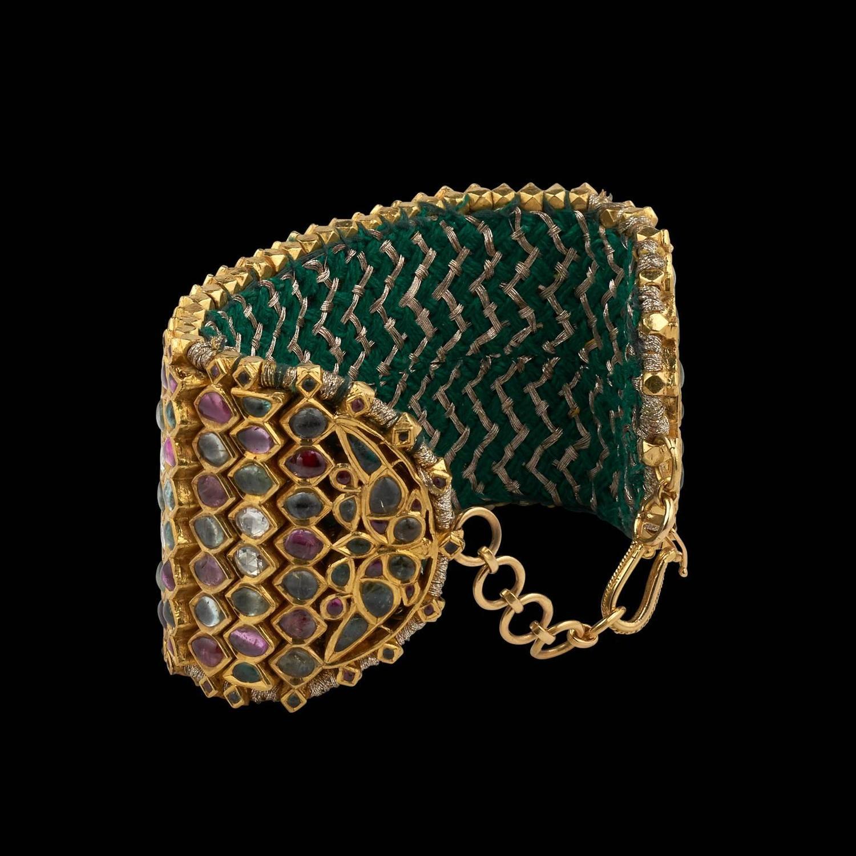 Antique Indian Precious Gem Gold Armlet Cuff Bracelet For