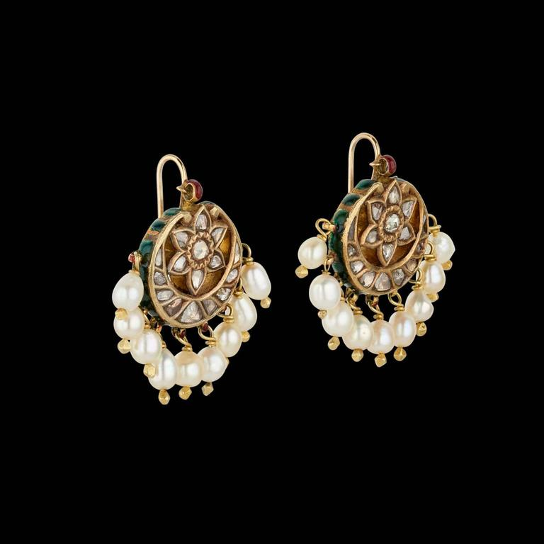 long is plated image setting gold pearl indian set rose jhumka loading itm s cm earrings