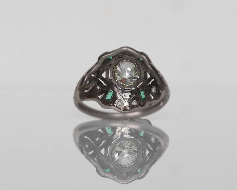 1920s Art Deco .91 Carat Old European Diamond Emerald Platinum Engagement Ring 2