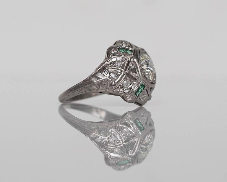 1920s Art Deco .91 Carat Old European Diamond Emerald Platinum Engagement Ring In Excellent Condition For Sale In New York, NY