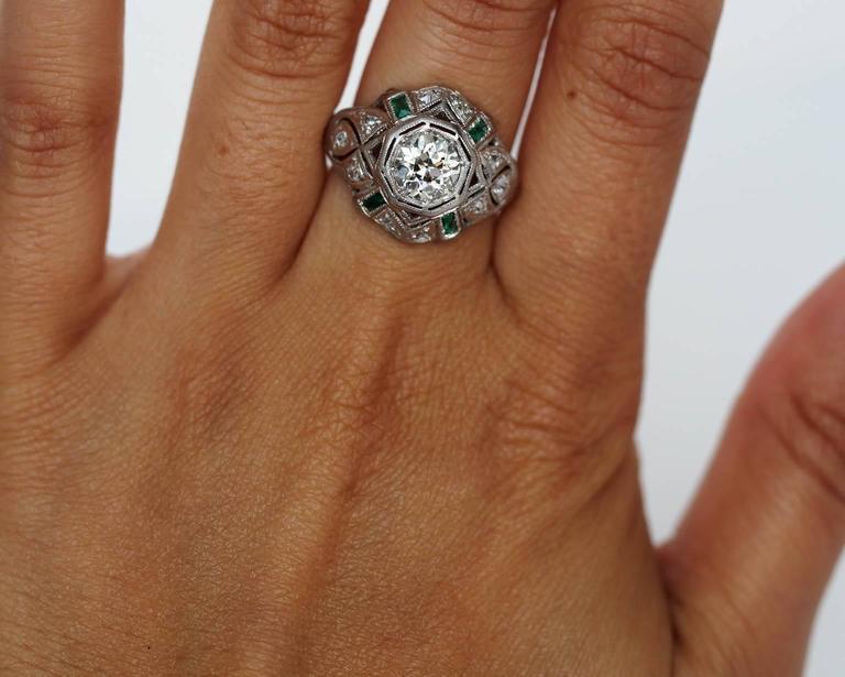 1920s Art Deco .91 Carat Old European Diamond Emerald Platinum Engagement Ring For Sale 1