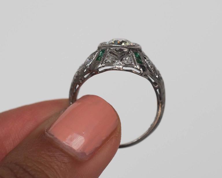 1920s Art Deco .91 Carat Old European Diamond Emerald Platinum Engagement Ring For Sale 2