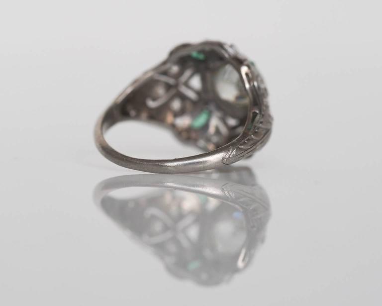 1920s Art Deco .91 Carat Old European Diamond Emerald Platinum Engagement Ring For Sale 4