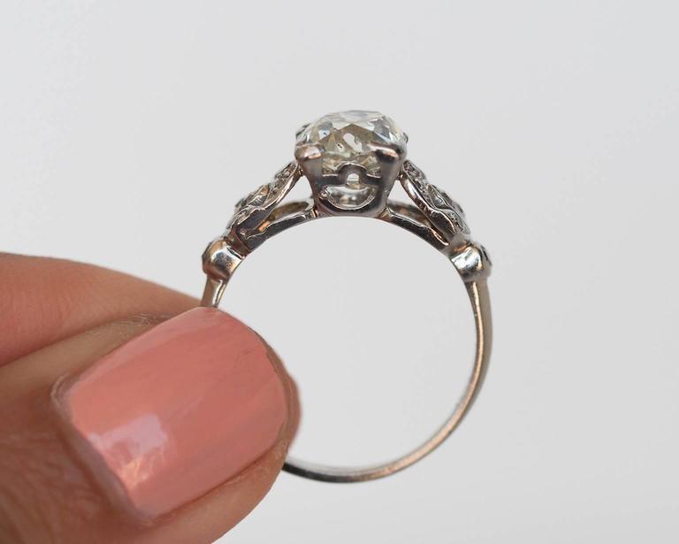 1900s Edwardian 1 60 Carat Old Mine Cushion Cut Diamond Platinum Engagement R
