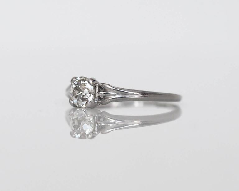 Old European Cut 1920s Art Deco .45 Carat GIA Certified Old European Diamond Platinum Ring For Sale