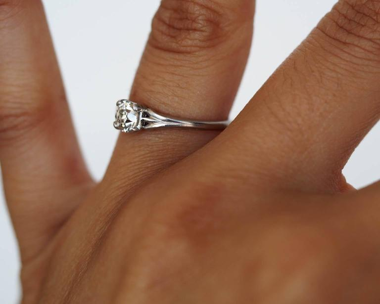 1920s Art Deco .45 Carat GIA Certified Old European Diamond Platinum Ring In Good Condition For Sale In New York, NY
