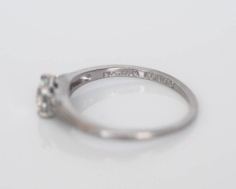 1920s Art Deco .45 Carat GIA Certified Old European Diamond Platinum Ring For Sale 3