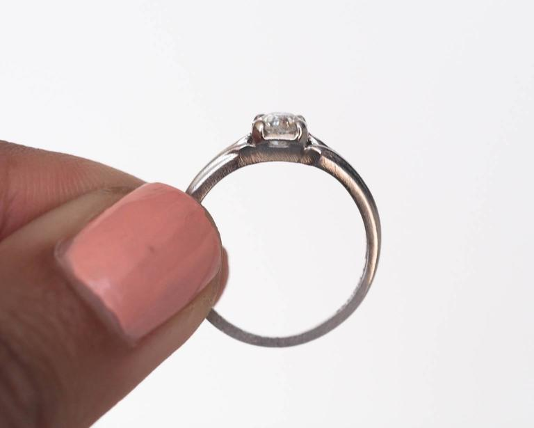 1920s Art Deco .45 Carat GIA Certified Old European Diamond Platinum Ring For Sale 4
