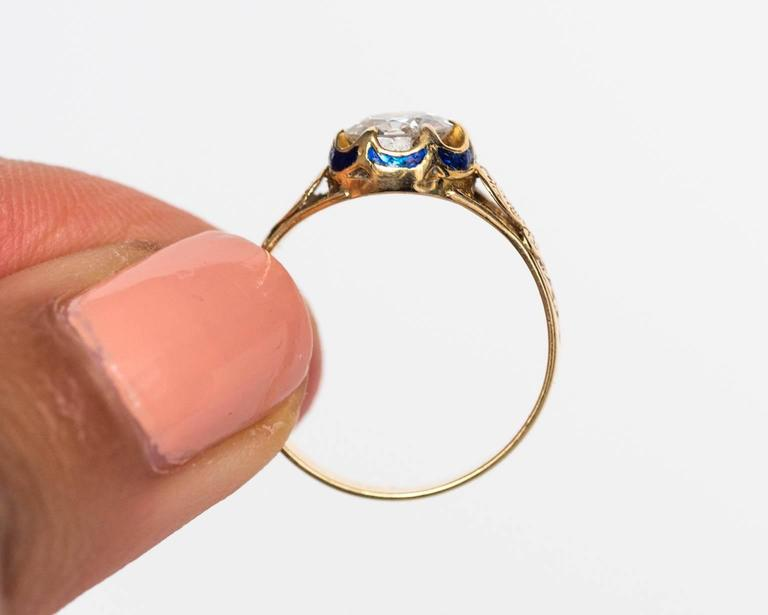 Late Victorian 1870s Victorian .75 Carat Old European Diamond Enamel Gold Engagement Ring For Sale