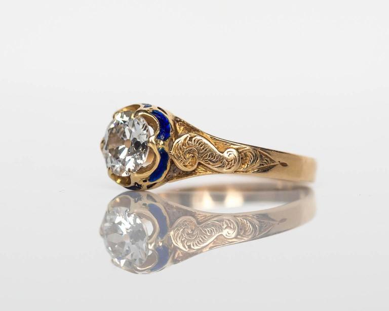 1870s Victorian 75 Carat Old European Diamond Enamel Gold