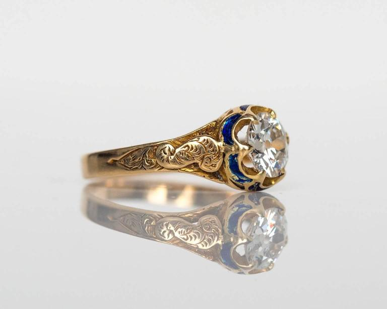Women's 1870s Victorian .75 Carat Old European Diamond Enamel Gold Engagement Ring For Sale