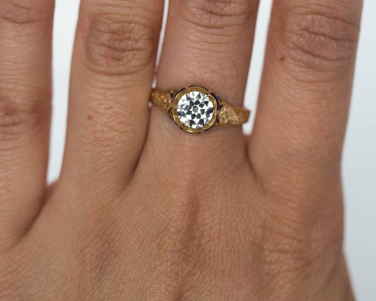 1870s Victorian .75 Carat Old European Diamond Enamel Gold Engagement Ring For Sale 1