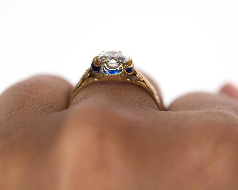 1870s Victorian .75 Carat Old European Diamond Enamel Gold Engagement Ring For Sale 2