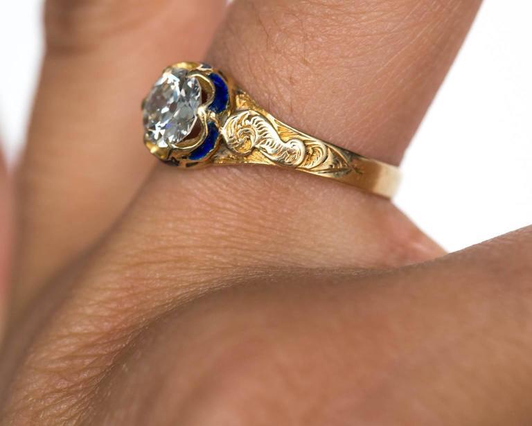 1870s Victorian .75 Carat Old European Diamond Enamel Gold Engagement Ring For Sale 3