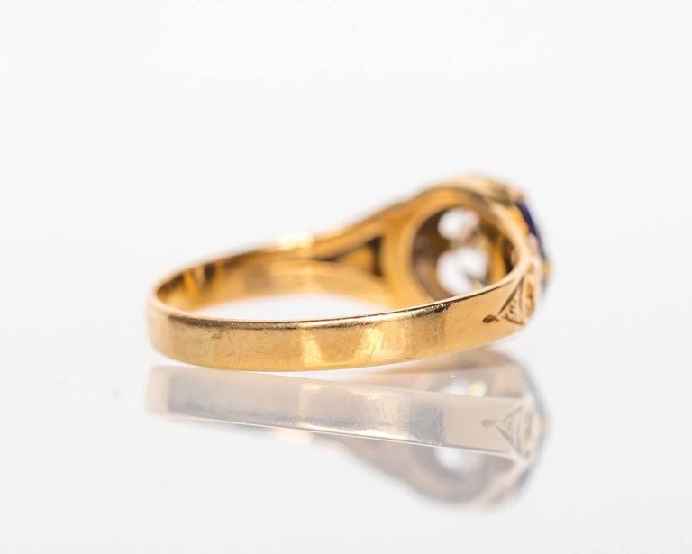 1870s Victorian .75 Carat Old European Diamond Enamel Gold Engagement Ring For Sale 4