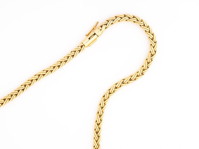 2f04806f5503 Retro 1960s Tiffany   Co. 14 Karat Yellow Gold Wheat Braided Chain Necklace  For Sale