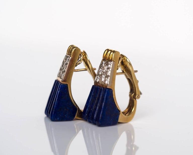 1970s 18K Yellow Gold Lapis & Diamond Retro Earrings 6