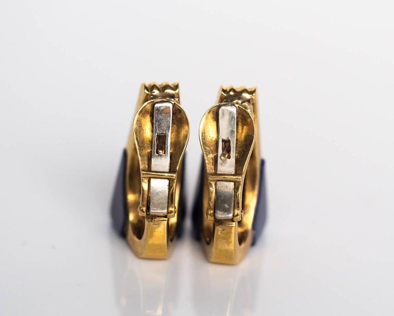 1970s 18K Yellow Gold Lapis & Diamond Retro Earrings 5