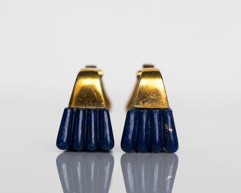 1970s 18K Yellow Gold Lapis & Diamond Retro Earrings 4