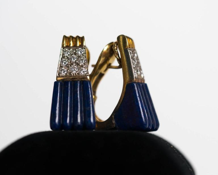1970s 18K Yellow Gold Lapis & Diamond Retro Earrings 7