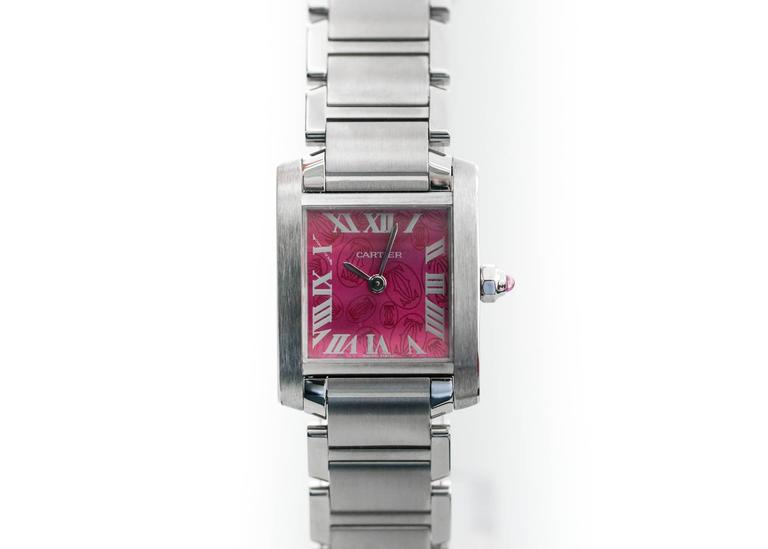 Cartier Stainless Steel Tank Francaise LtdEd Raspberry Quartz Wristwatch In Excellent Condition In New York, NY