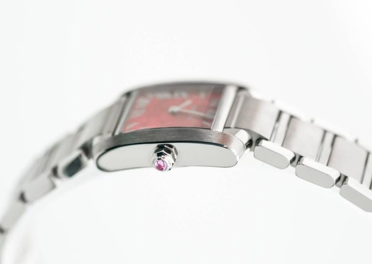 Women's or Men's Cartier Stainless Steel Tank Francaise LtdEd Raspberry Quartz Wristwatch