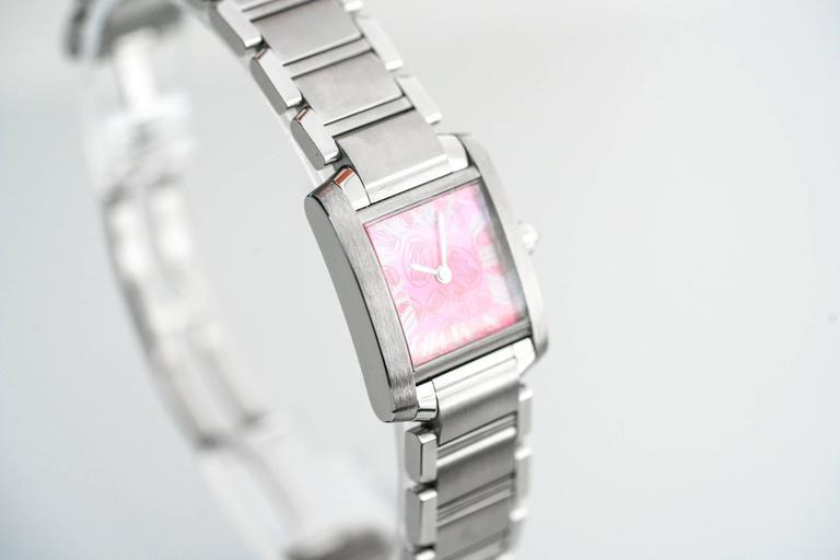 Cartier Stainless Steel Tank Francaise LtdEd Raspberry Quartz Wristwatch 3