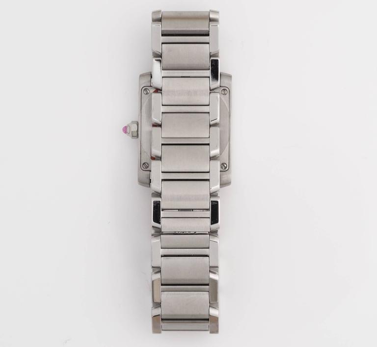 Cartier Stainless Steel Tank Francaise LtdEd Raspberry Quartz Wristwatch 2