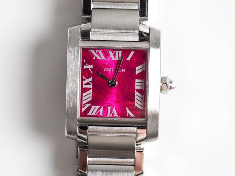 Cartier Stainless Steel Tank Francaise LtdEd Raspberry Quartz Wristwatch 1