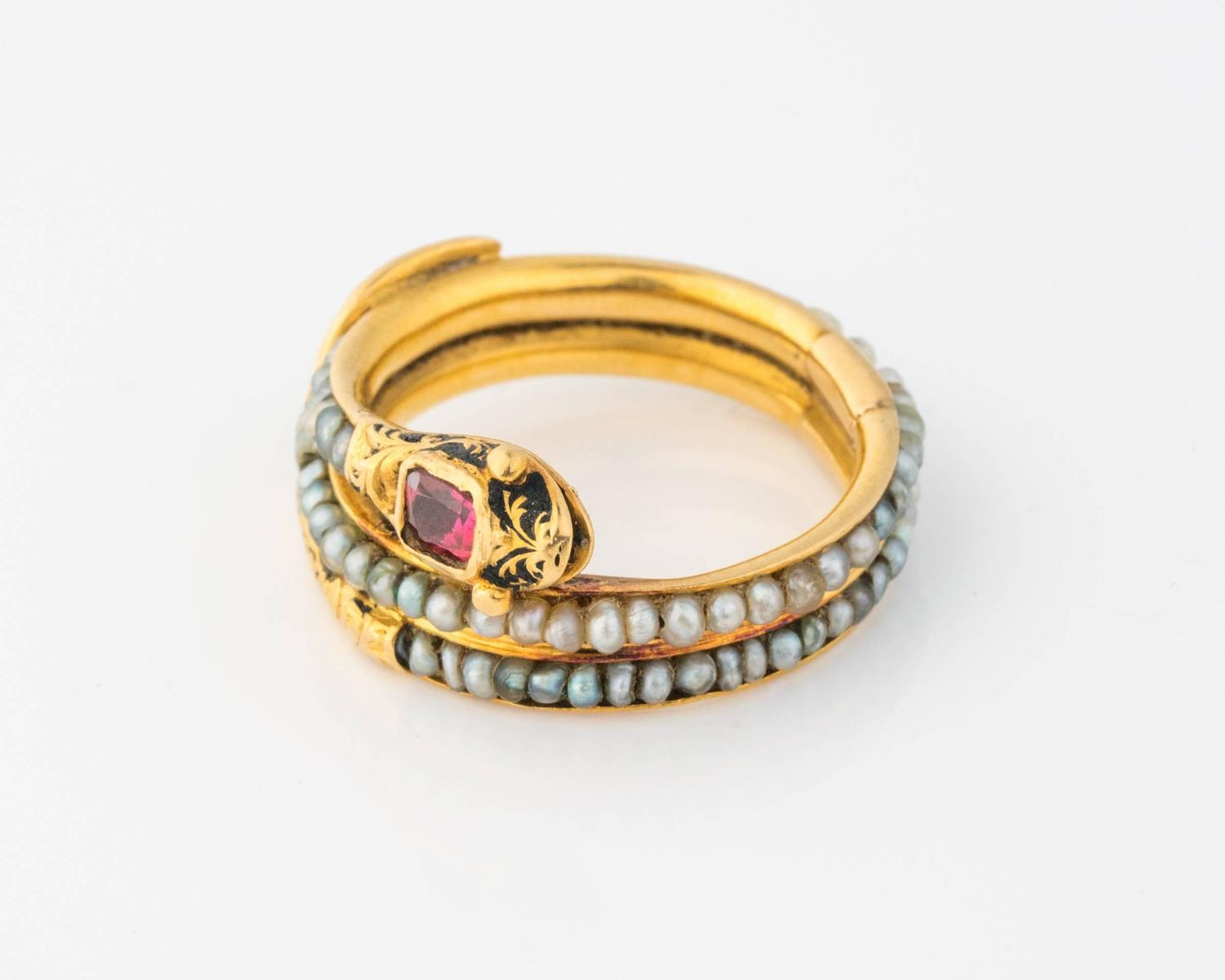 Victorian Era Mourning Serpant Gold Ring Ft Ruby And Seed