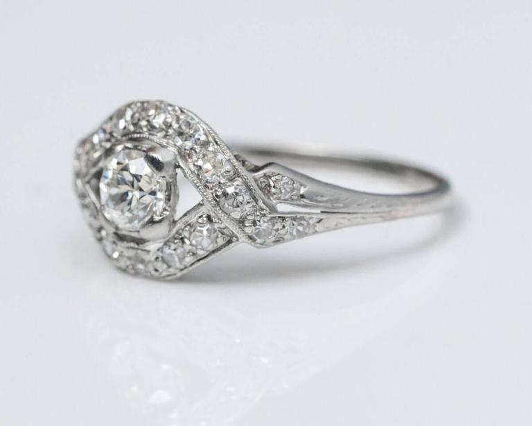 1930s platinum engagement ring with unique