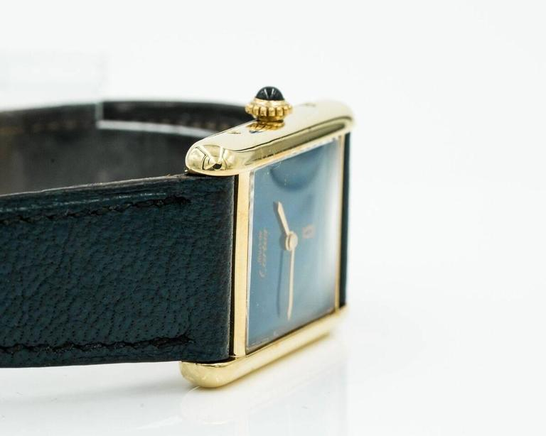 Stunning 1960s Cartier Tank Watch with Lapis Lazulli Dial. 