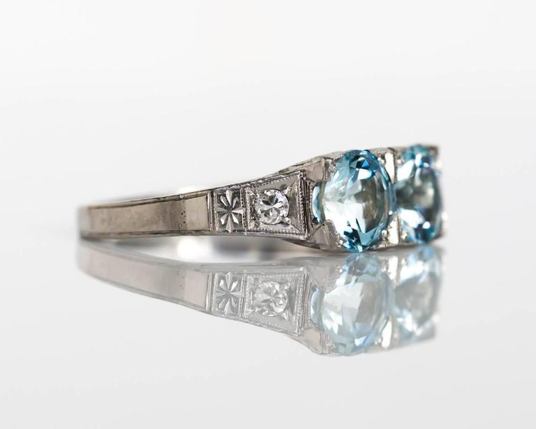 1930s Art Deco Platinum London Blue Topaz And Diamond