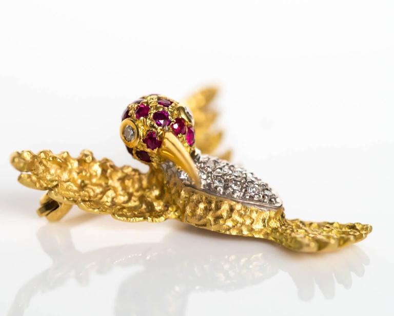 Women's or Men's 1980s Ruby Diamond Gold Bird Brooch Pin For Sale