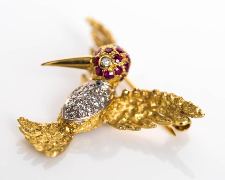 1980s Ruby Diamond Gold Bird Brooch Pin For Sale 1