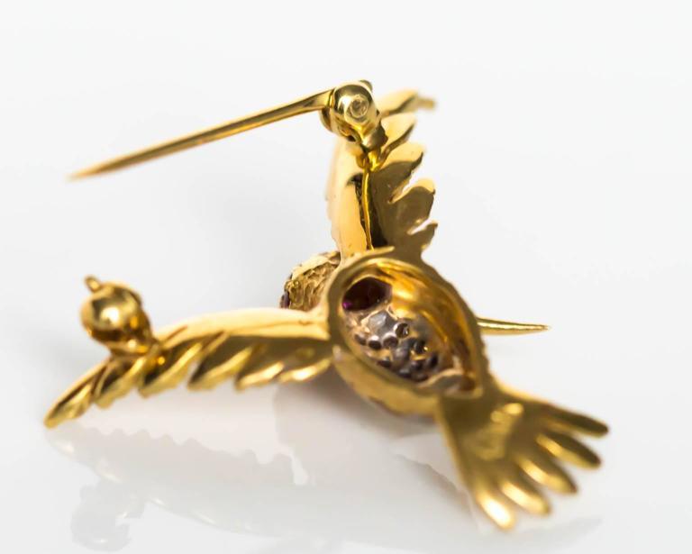 1980s Ruby Diamond Gold Bird Brooch Pin For Sale 2