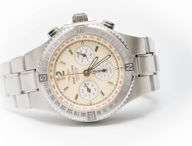 Breitling Stainless Steel Hercules Chronograph Automatic Wristwatch Ref A39363 3