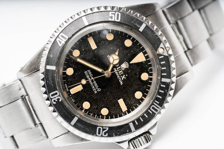 Rolex 5513 Matte Submariner, Rare Collector's Item Serial #: 348XXX Model #: 5513 Original Gold Hands  Meters First Dial (design no longer found in modern Rolexes) Minor Scratches on Crystal Subtle Patina Along Dial  Timeless Rolex Design  Fits Size