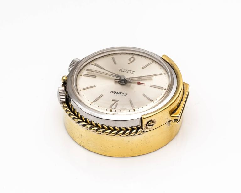 1950s Cartier Sterling Silver and Gold Plated Travel Alarm Clock 3