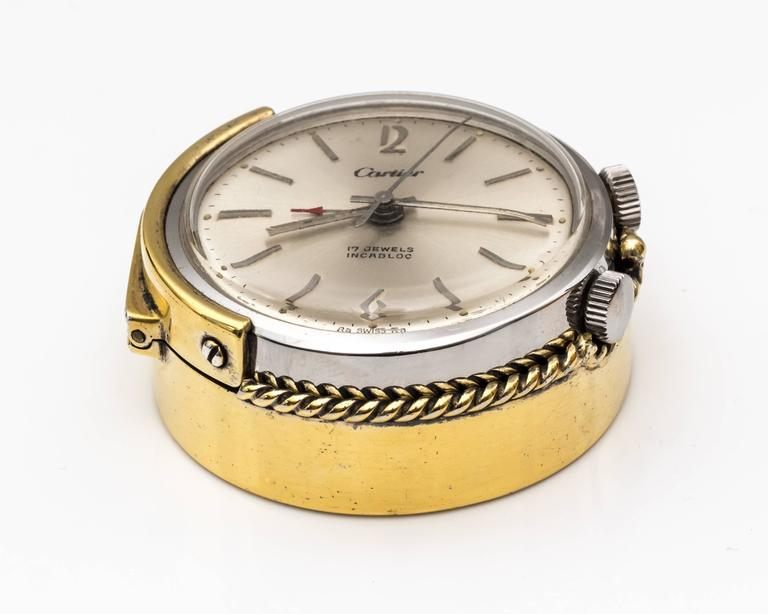 1950s Cartier Sterling Silver and Gold Plated Travel Alarm Clock 5