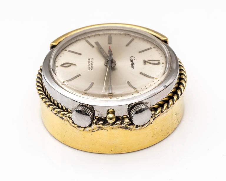 1950s Cartier Sterling Silver and Gold Plated Travel Alarm Clock 6