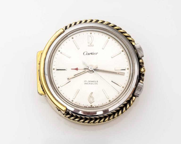 1950s Cartier Sterling Silver and Gold Plated Travel Alarm Clock 7
