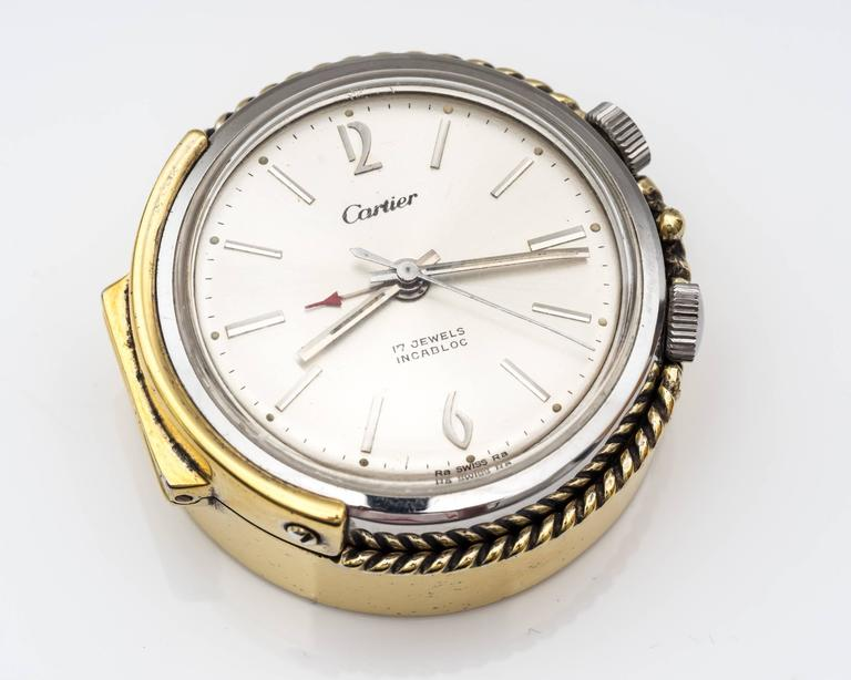 1950s Cartier Sterling Silver and Gold Plated Travel Alarm Clock 4