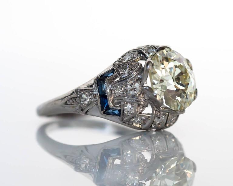 1920s deco 2 02 carat sapphires platinum engagement ring for sale at 1stdibs