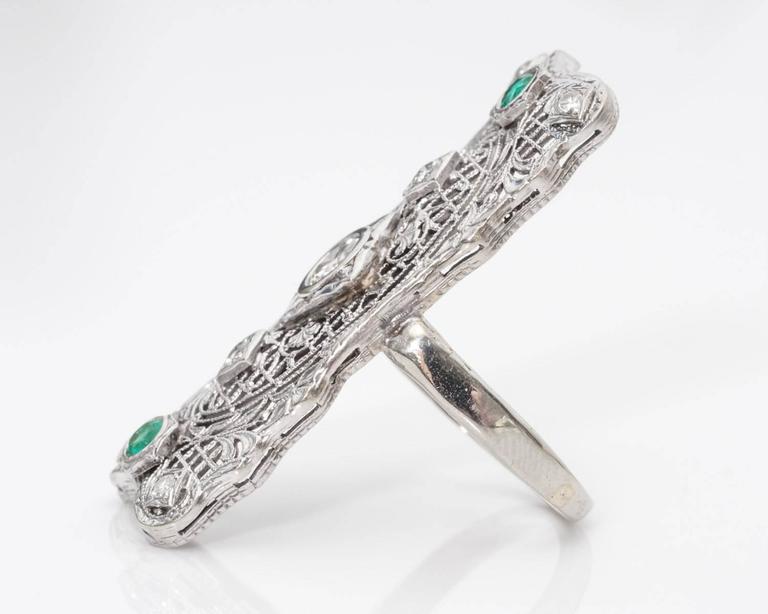 Retro 1940s Diamond and Emerald Filigree Shield Ring For Sale